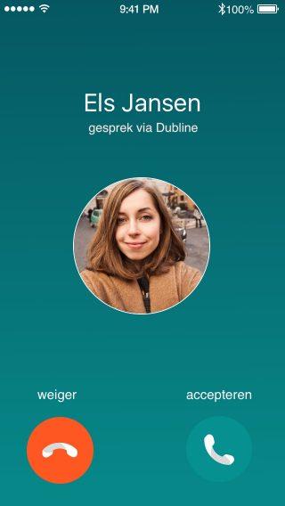 iPhone met een screenshot van het Dubline inkomende beller