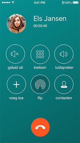 iPhone met een screenshot van het Dubline bel scherm - een telefoon met twee nummers