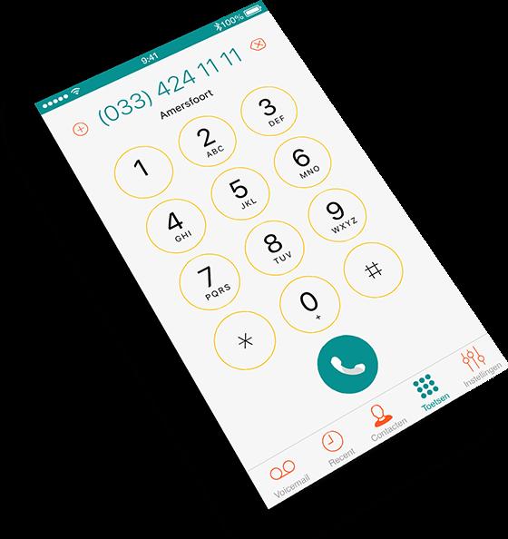 Schermafbeelding van Dubline app - een telefoon met twee nummers