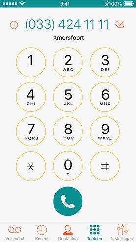 iPhone met een screenshot van het Dubline dail pad - een telefoon met twee nummers