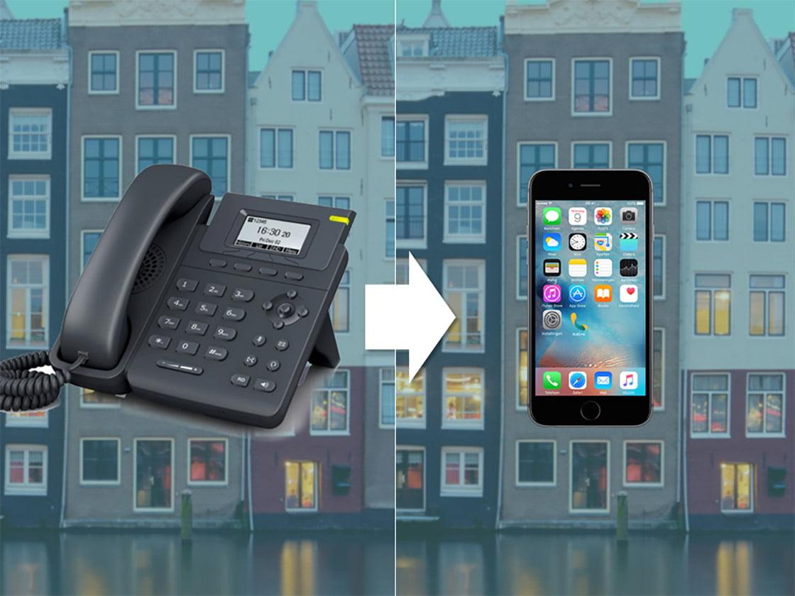 Afbeelding van een DECT-telefoon die verwijst naar een iPhone met de Dubline app