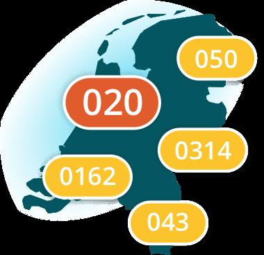 Dubline regio codes in Nederland