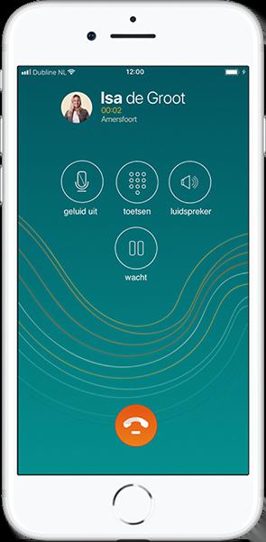 Afbeelding van een iPhone 8 Zilver met het gesprekscherm