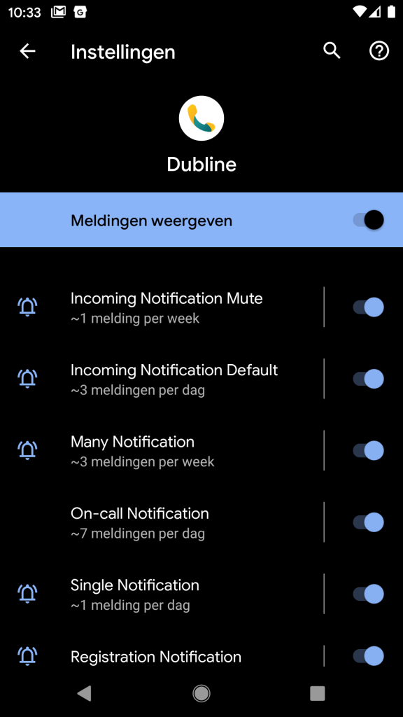 Screenshot van Android 10 - notificatie instellingen Dubline