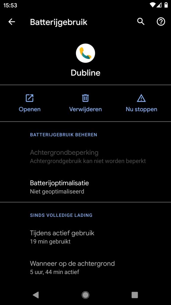 Screenshot van instellingen voor de Dubline app over batterij gebruik op Android 10
